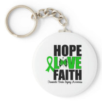 Hope Love Faith Traumatic Brain Injury Basic Round Button Keychain