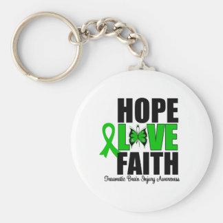 Hope Love Faith Traumatic Brain Injury Basic Round Button Keychain