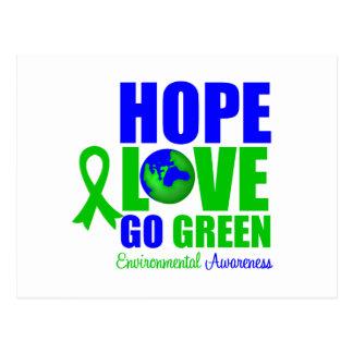 Hope Love Go Green Earth Postcard