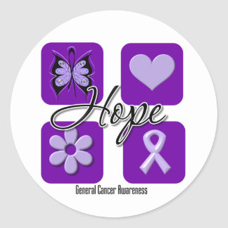 Hope Love Inspire Awareness Cancer Round Stickers
