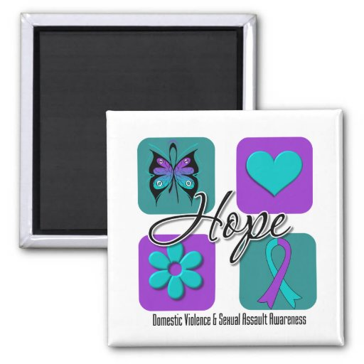 Hope Love Inspire Awareness Domestic Violence Magnets