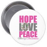 Hope Love Peace Merry Christmas Wreath Buttons