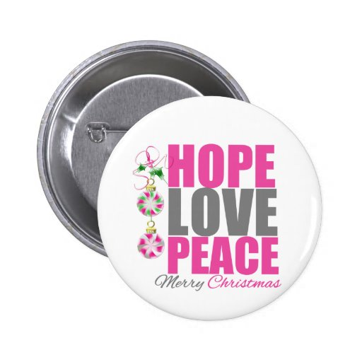 Hope Love Peace Ornament Buttons