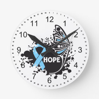 Hope Lymphedema Butterfly Round Clock