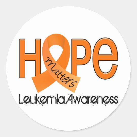 Hope Matters 2 Leukemia Classic Round Sticker