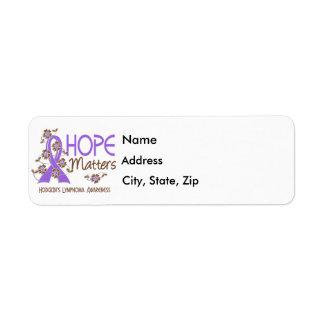 Hope Matters 3 Hodgkin's Lymphoma Label