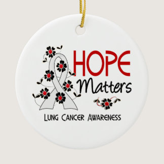 Hope Matters 3 Lung Cancer Ceramic Ornament