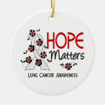 Hope Matters 3 Lung Cancer Double-Sided Ceramic Round Christmas Ornament