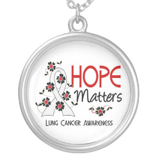 Hope Matters 3 Lung Cancer Round Pendant Necklace