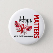Hope Matters Butterfly AIDS Pinback Button