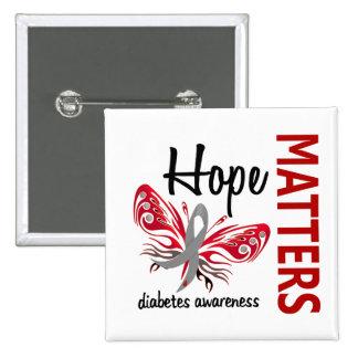 Hope Matters Butterfly Diabetes Pinback Buttons