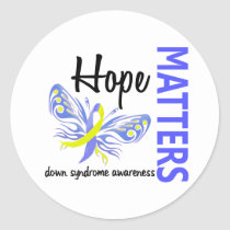 Hope Matters Butterfly Down Syndrome Classic Round Sticker