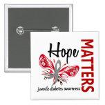 Hope Matters Butterfly Juvenile Diabetes Pinback Button