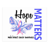 Hope Matters Butterfly Male Breast Cancer Postcard
