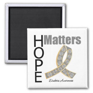 Hope Matters Diabetes (Jeweled Ribbon) 2 Inch Square Magnet