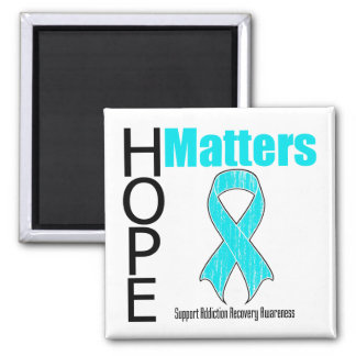Hope Matters Ribbon Addiction Recovery Awareness 2 Inch Square Magnet