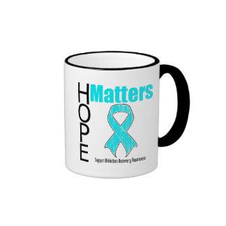 Hope Matters Ribbon Addiction Recovery Awareness Ringer Coffee Mug