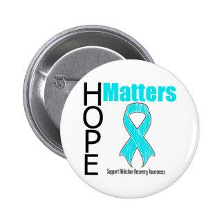 Hope Matters Ribbon Addiction Recovery Awareness Pinback Button