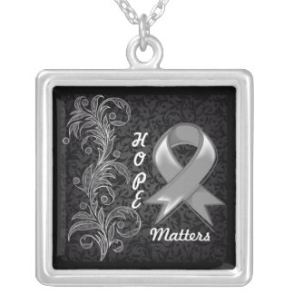 Hope Matters Ribbon Brain Cancer Square Pendant Necklace