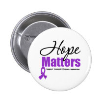 Hope Matters Ribbon Domestic Violence Pinback Button