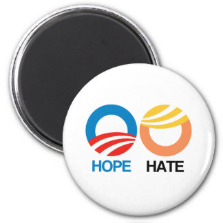 HOPE (Obama) vs. HATE (Trump) 2 Inch Round Magnet