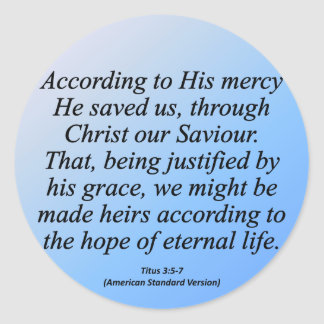 Hope of Eternal Life Christmas Titus 3-4 Round Sticker