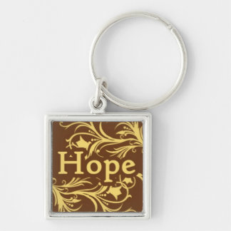 Hope on a Yellow and Brown Swirly Pattern Keychain
