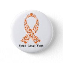 Hope Orange Awareness Ribbon Button