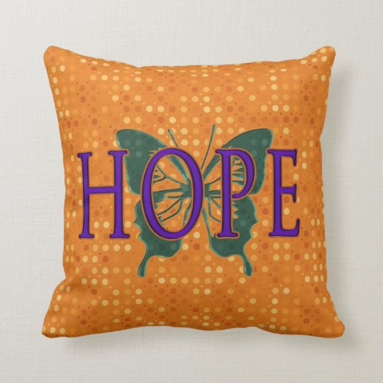 Hope orange polka dots pillow with green butterfly
