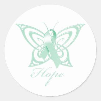 Hope Ovarian Cancer Awareness Butterfly Round Sticker