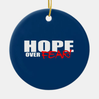 HOPE OVER FEAR Double-Sided CERAMIC ROUND CHRISTMAS ORNAMENT