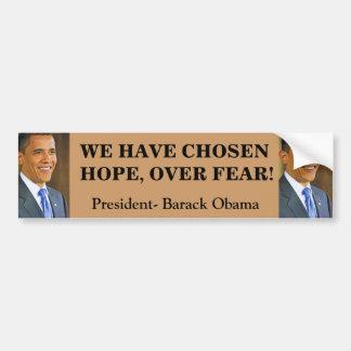 HOPE OVER FEAR, OBAMA bumpersticker Bumper Sticker