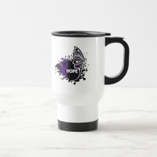 Hope Pancreatic Cancer Butterfly 15 Oz Stainless Steel Travel Mug