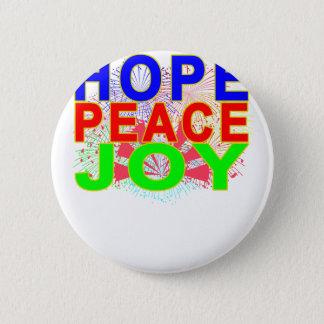 Hope Peace Joy T-Shirt . Pinback Button
