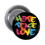 Hope Peace Love 2 Inch Round Button
