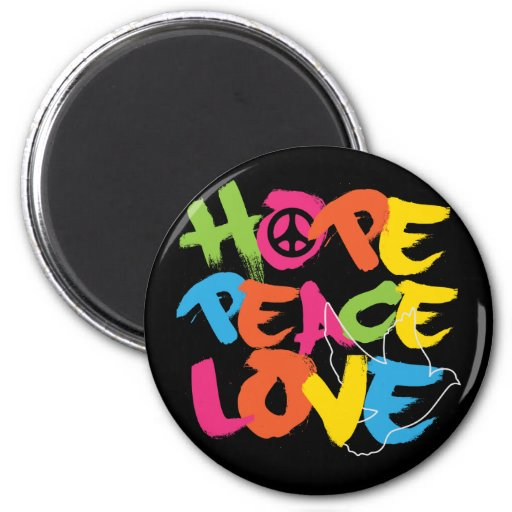 Hope Peace Love 2 Inch Round Magnet