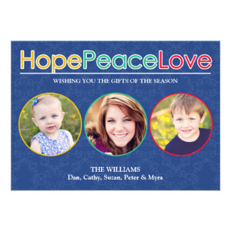 Hope Peace Love Photos Holiday Flat Card Personalized Invites