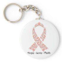 Hope Peach Awareness Ribbon Keychain