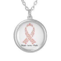 Hope Peach Awareness Ribbon Silver Plated Necklace