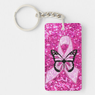 HOPE Pink Butterfly and Awareness Ribbon Keychain