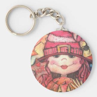 Hope Pink Halloween Witch Basic Round Button Keychain
