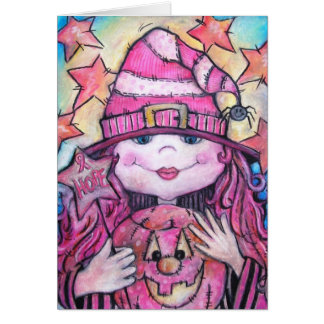 Hope Pink Halloween Witch Card