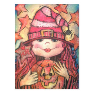 Hope Pink Halloween Witch Postcard