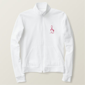 Hope Pink Ribbon Fleece Zip Jogger Embroidered Jacket