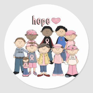 Hope Pink Ribbon Round Sticker