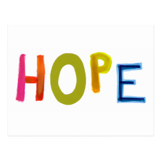 Hope powerful word art colorful fun hopeful unique postcard