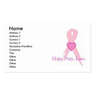 Hope Pray Amor Tarjetas de visita del cáncer de