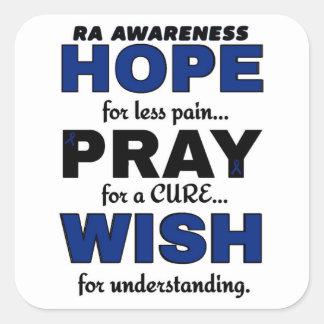 Hope Pray Wish...RA Square Sticker