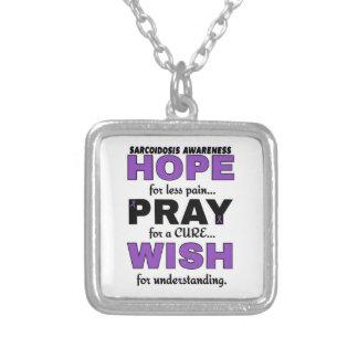 Hope Pray Wish...Sarcoidosis Square Pendant Necklace