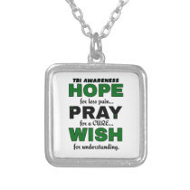 Hope Pray Wish...TBI Silver Plated Necklace